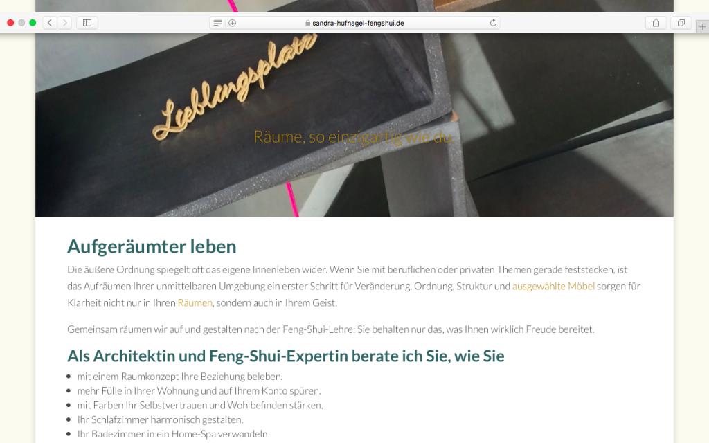 Ulrike Zecher erstellt Webseiten für Einzel-Unternehmer – zum Beispiel für die Architektin und Feng-Shui-Expertin Sandra Hufnagel.